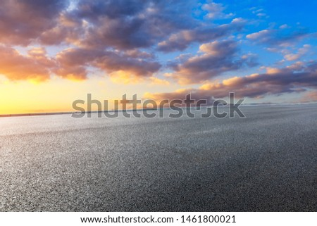 Asphalt road and beautiful clouds landscape at sunset #1461800021