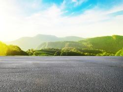 Asphalt road and beautiful natural landscape background.