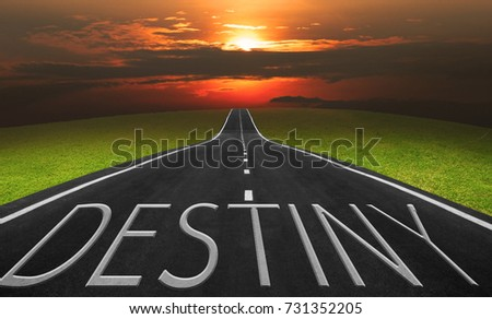 Asphalt road and landscape background with destiny words, Business concept photo.