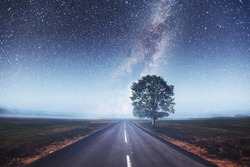 Asphalt road and lonely tree under a starry night sky and the Milky Way.