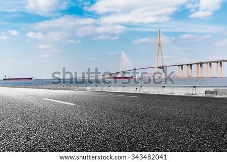 Asphalt road and modern bridge,Hong Kong