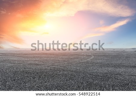 Asphalt road and sky at sunset #548922514