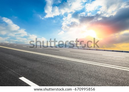 Asphalt road and sky cloud landscape at sunset #670995856