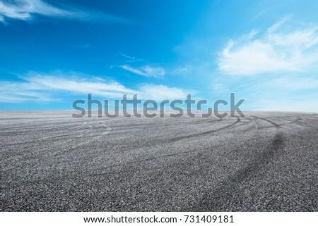 asphalt road circuit and sky...