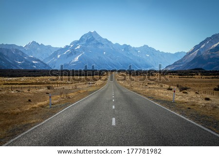 Asphalt road heading to Mount Cook in New Zealand  - Shutterstock ID 177781982