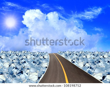 Asphalt road ,ice cubes in blue sky