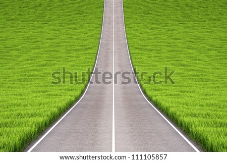 asphalt road in field with green grass. - stock photo