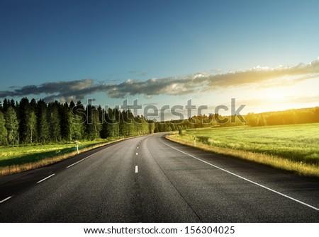 Asphalt road in forest #156304025