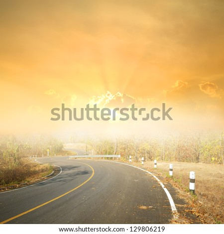 Asphalt  road in forrest and rainclouds