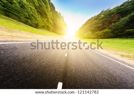 Asphalt road in green forest. Belarus. Sunset.