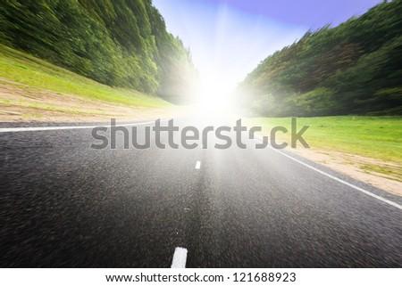 Asphalt road in green forest. Belarus. Sunset.
