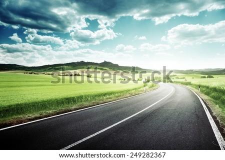 asphalt road in Tuscany Italy  #249282367