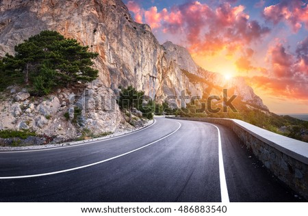 Asphalt Road Landscape With Beautiful Winding Mountain A Perfect In The Evening