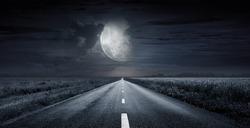 asphalt road night bright illuminated large moon