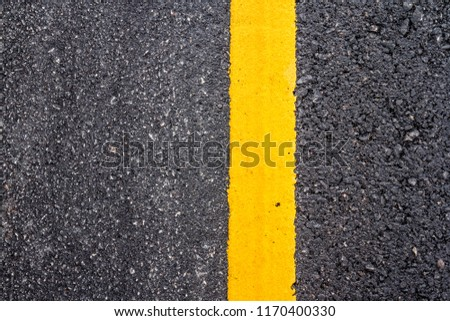 Asphalt road surface with yellow line #1170400330