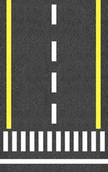 Asphalt road texture with white and yellow stripes and Start point