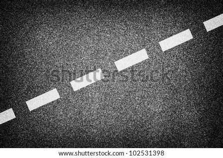 Asphalt road texture with white stripes - stock photo