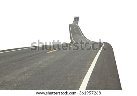 Asphalt road with traffic line isolated on white background.