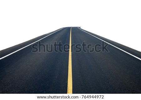 Asphalt road with yellow line isolated on white background. This has clipping path. #764944972