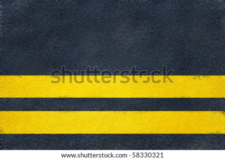Asphalt road yellow marking. Double line