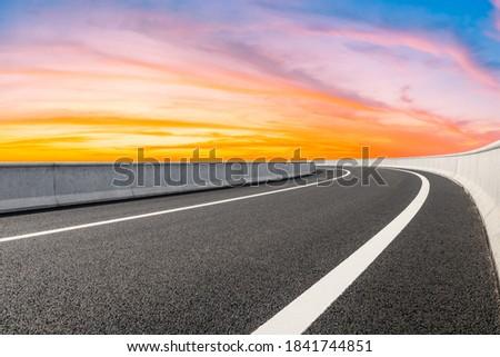 Asphalt viaduct road and beautiful sky cloud at sunrise. Photo stock ©
