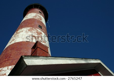 Assateague Lighthouse with bright blue sky