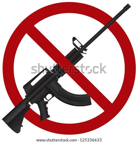 Assault Rifle AR 15 Gun Ban Symbol Isolated on White Background Illustration Raster Vector