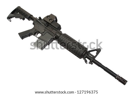 assault rifle with gunsight isolated on a white background