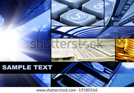 Assemblage of business theme photos with space for your own text