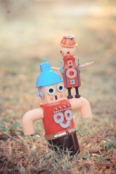 Assemblage robot sculptures daddy and son