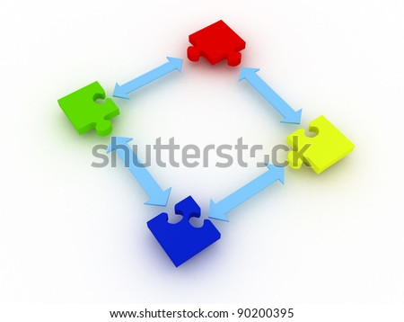 assemble 3d puzzle part with blue arrow isolated on white