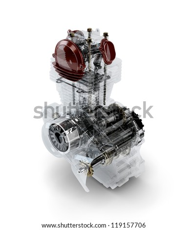 Assembled motorcycle performance engine in transparent case isolated on white