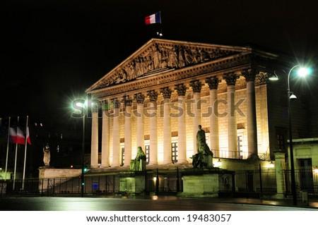 Assemblee Nationale (Palais Bourbon) - the French Parliament seen across Pont de la Concorde