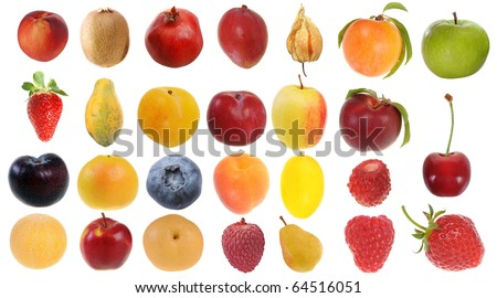 Assembling of delicious fresh fruit isolated on white background