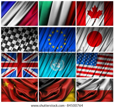 Assembling of flags on white background