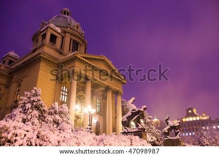 Assembly building  winter in Belgrade, Serbia