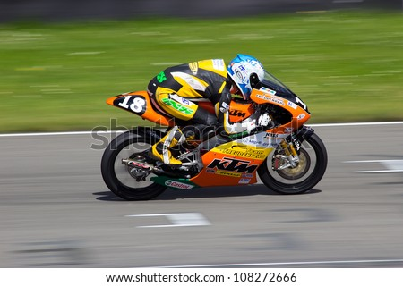 ASSEN, THE NETHERLANDS - JULY 21: Freudenberg Racing Team participates with a KTM GP bike in the German IDM championship 2012 on July 21, 2012 in Assen, The Netherlands.