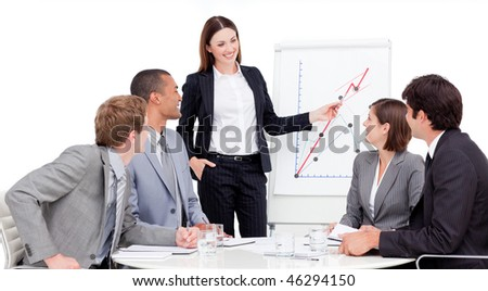 Assertive businesswoman giving a presentation to her colleagues
