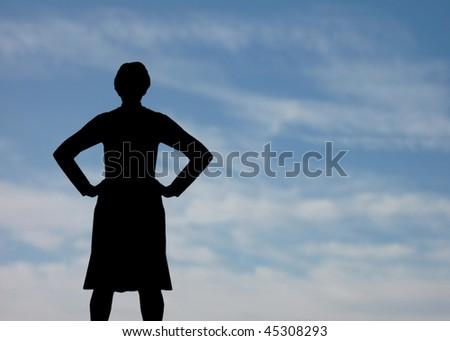 Assertive strong woman silhouette