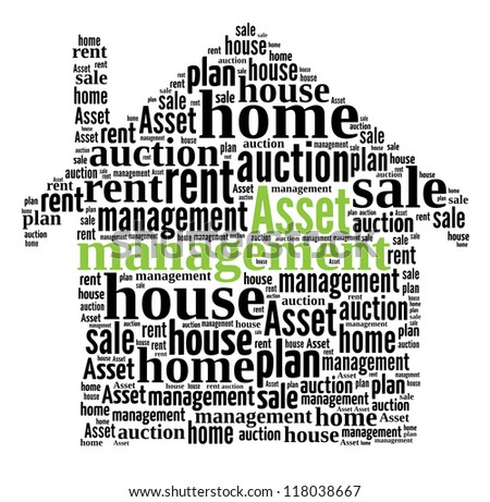 Asset Management in word collage compose in house shape