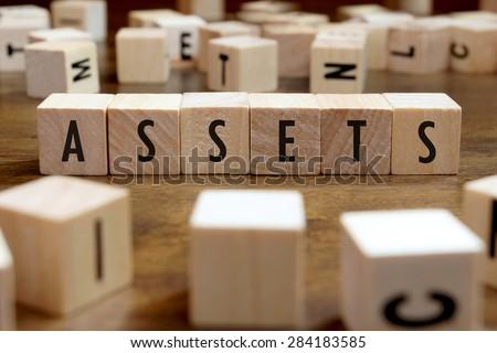 assets word written on wood block