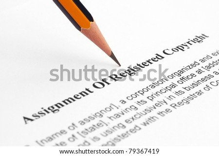 Assignment of registered copyright - stock photo