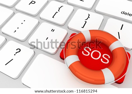 Assistance concept. Computer Keyboard with red SOS button and lifebuoy
