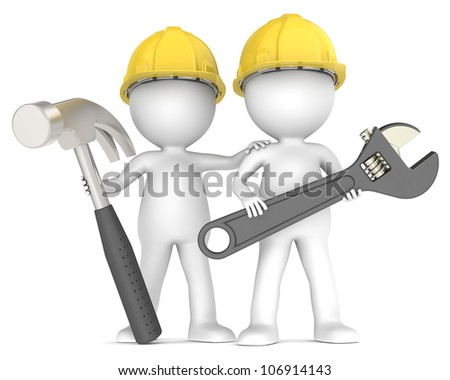 Assistance. 3D little human character The Builders X2 with Hammer and Wrench. People Series.