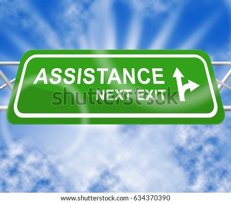 Assistance Sign Representing Assisting Customers 3d Illustration
