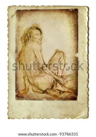 associated media in one figure - own painting and fakes the background of my own old photographs - SITTING NAKED MAN FROM BEHIND