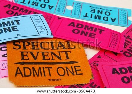 "Assorted ""admit one"" ticket stubs, closeup"