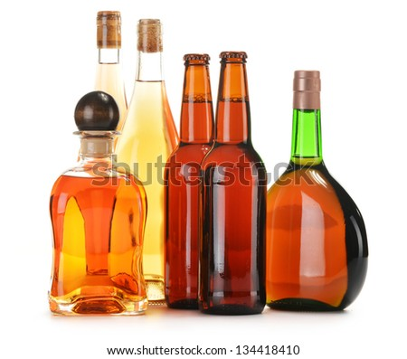 Assorted alcoholic beverages isolated on white #134418410