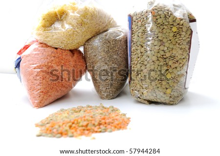 assorted beans, lentils, grains and seeds isolated with clipping path