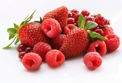 assorted berries isolated on white